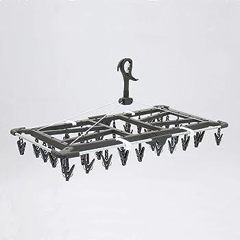 東和産業 洗濯物ハンガー グレー 約35×42×76cm UB タオルで隠し干しハンガー ジャンボ ピンチ40個付