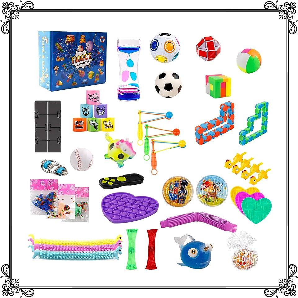 Fidget Toys Set Sensory Pack Stress Marble Mesh Ball Box Figit Wacky Tracks Bike Chain Infinity Cube Monkey Noodles Puzzle For kids Anxiety Adhd Water Timer Snake Dna Flippy Uk Bundle childrens Autism