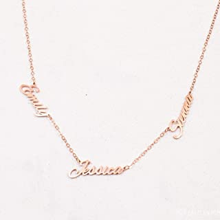 Three Name Necklace in Rose Gold, Gold and Silver by CaitlynMinimalist Baby Name Necklace Perfect Gift for Grandma