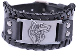 Lemegeton Pagan Celtic Knot Wolf Fenrir Cuff Wide Leather Bracelets Viking Punk Jewelry for Men