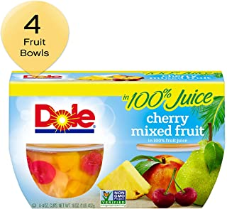 DOLE FRUIT BOWLS Cherry Mixed in 100% Fruit Juice, 4 Ounce (Pack of 4)