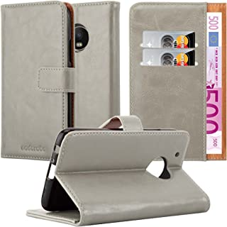 Cadorabo Book Case Works with Motorola Moto G5 Plus in Cappuccino Brown – with Magnetic Closure, Stand Function and Card Slot – Wallet Etui Cover Pouch PU Leather Flip