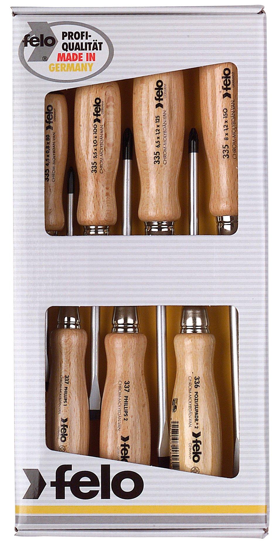 Felo - 7 Destornilladores mango de madera Alemanes