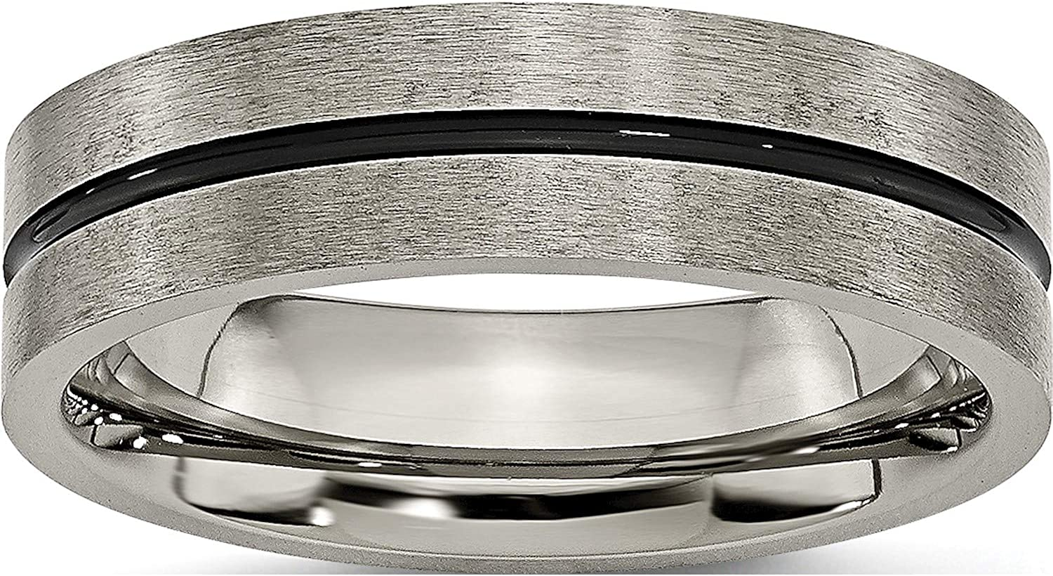 Jewelry By Max 66% OFF Sweet Pea Titanium Direct sale of manufacturer Black Band 6mm Brushed Enamel Wid