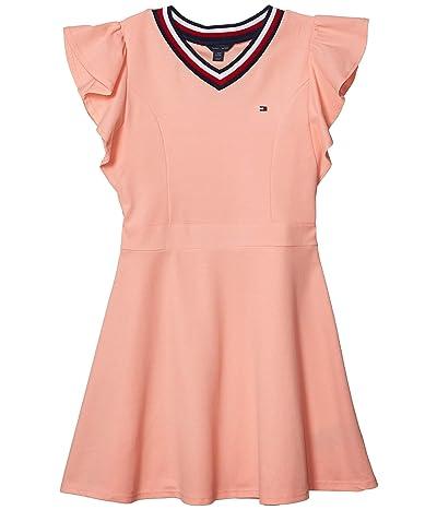 Tommy Hilfiger Kids Tommy Ruffle Dress (Big Kids) (Apricot Blush) Girl
