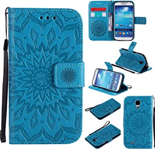 A-slim Galaxy S4 Mini Wallet Case, (TM) Beauty Fashion Sun Pattern Embossed PU Leather Magnetic Flip Cover Card Holders & Hand Strap Wallet Purse Cover Case for Samsung Galaxy S4 Mini I9190 - Blue