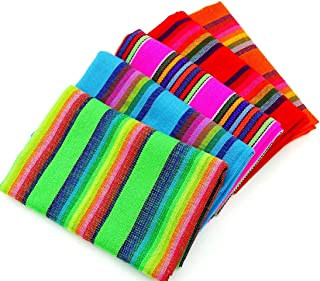 Cinco de Mayo Fabric, Mexican Fabric Bundle, Mexican Fabric By the Yard, Aztec Fabric, Red, Blue, Green, Yellow and Black Tribal Fabric From Mexico, Fiesta Party Decorations, Mexican Wedding Decor