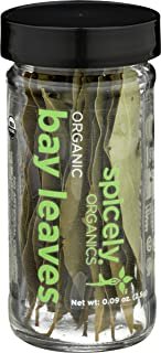 Spicely Organic California Bay Leaves Whole - Glass Jar - Gluten Free - Non GMO - Vegan - Kosher