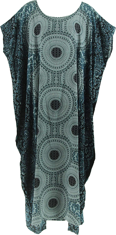 Beautybatik Dark bluee Boho Caftan Kaftan Loungewear Plus Size Maxi Long Dress
