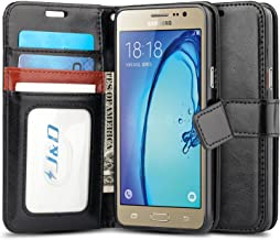 J&D Galaxy On5 2015 Wallet Case, [Wallet Stand] [Slim Fit] Heavy Duty Protective Shock Resistant Flip Wallet Case for Samsung Galaxy On5 (Release in 2015) - [Not for Galaxy On5 2016] - Black