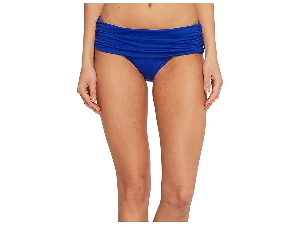 LAUREN Ralph Lauren Beach Club Solids Wide Shirred Banded Hipster Bottom (Capri Blue) Women