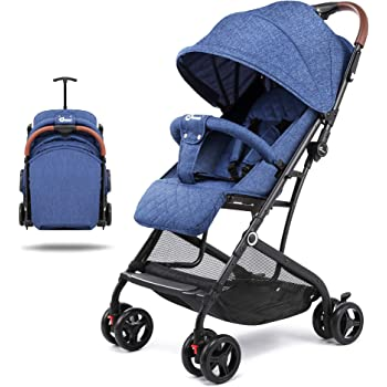 Lightweight Stroller, Baby Umbrella Strollers Foldable Compact Stroller for Travel, Convenience Stroller with Oversized Canopy/Easy One-Hand Fold/Extra-Large Storage (Blue)