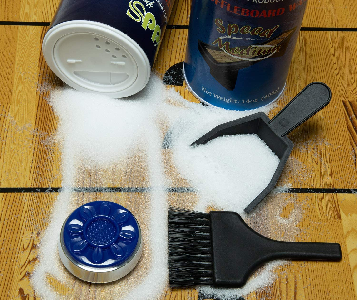 Shuffleboard Powder Wax Come with Mini Brush and Dustpan Perfect Shuffleboard Accessories for Each Player 14oz x 2 Cans