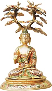 Brass Gift Center Brass Buddha in Under Tree with Handwork Colour Lacquer Finish Decorative Showpiece - 28 cm (Brass, Multicolor)