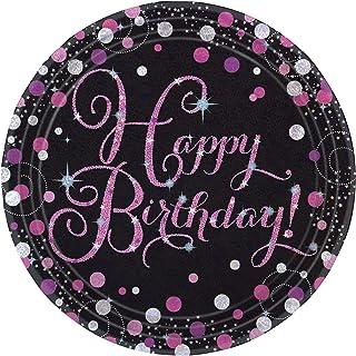 amscan 9900571 Pink Sparkling Celebration Happy Birthday Prismatic Paper Plates (Pack of 8), Black/Pink, 23cm