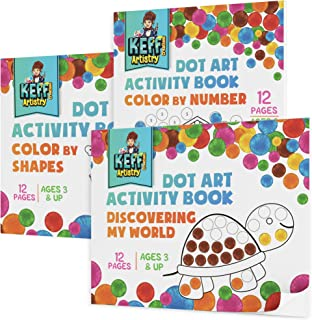 3 Pack Dot Art Activity Book Set for Kids, Non Toxic Daubers Activity Art Kit for Toddlers and Up - by KEFF Creations