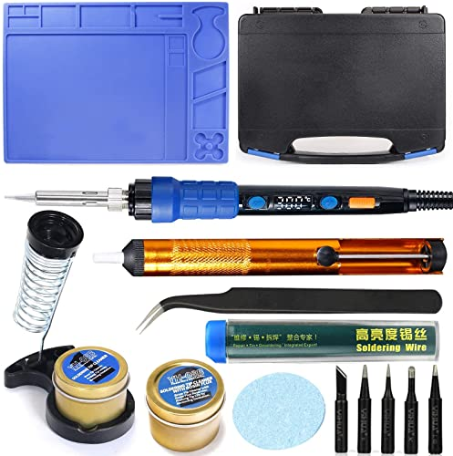 new arrival YIHUA 928D outlet sale Hand Soldering Iron Kit bundle with #08B sale Rosin Cleaning Kit with Iron Holder, Cleaning Kit, and Accessories (14 Items) online sale