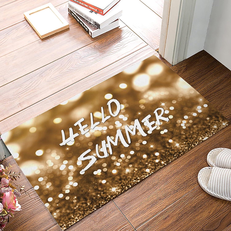 IDOWMAT Door Mat Rugs Indoor Shower Bathroom Front Door Entrance Floor Mats Home Welcome shoes Scraper Doormats Non-Slip, 32x20 Inch golden Glitter Hello Summer