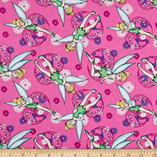Springs Creative Products 0588925 Springs Creative Disney Tink Fashion Tinkerbell All Over Pink Fabric by the Yard