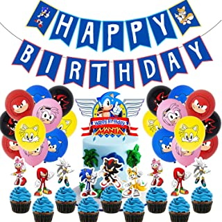 Dlazm Sonic Birthday Party Supplies,Sonic Decorations Include Cake Topper,Cupcake Toppers,Banner,Balloons
