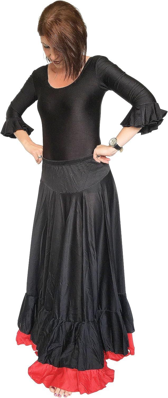 España Flamenco Rock – Falda Flamenco para mujer/mujeres – negro – rojo – M a XL