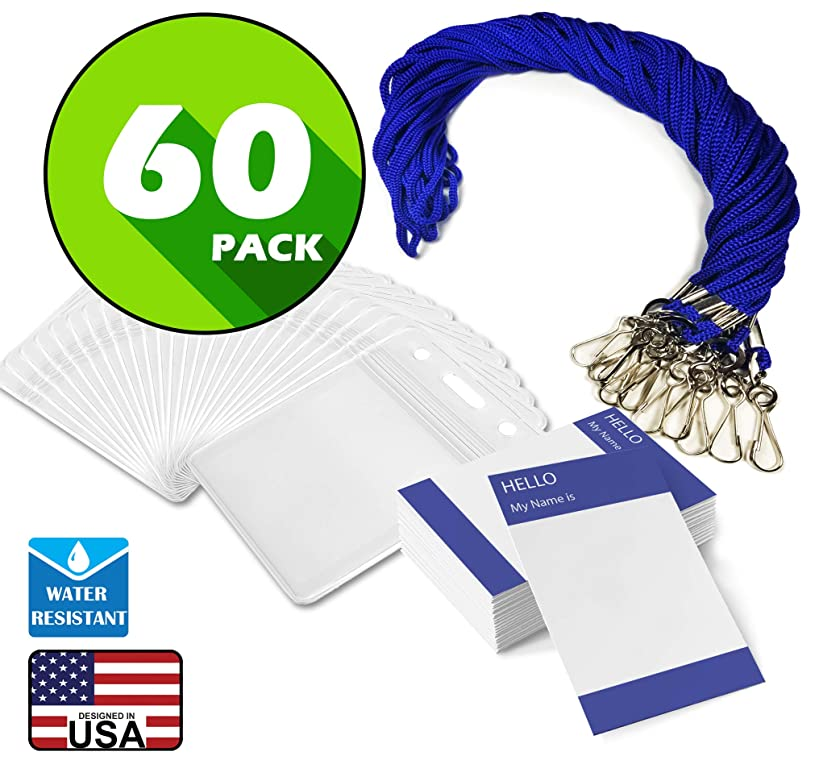 Waterproof Plastic Name Tags ID Card Holder Cord Lanyards for Kids Name Labels, School, Camp, Field Trip, Business Event, Conference Badges Holder, Name Tag with Lanyard (60, Royal Blue Vertical)