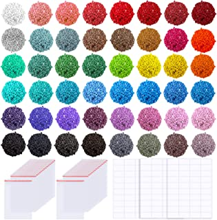 PP OPOUNT 48 Colors Diamond Painting Replacement Square Diamonds with 60 Pieces Self-Seal Bags and 3 Sheets 120 Tags Label...
