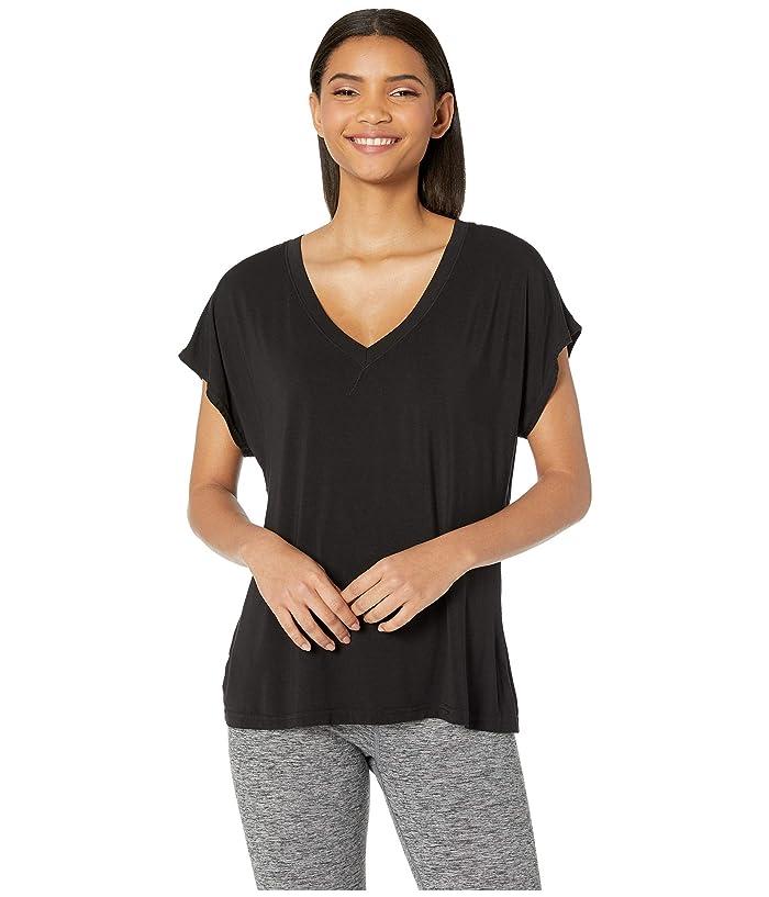 Hard Tail Slouchy V-Neck Short Sleeve Tee (Black) Women