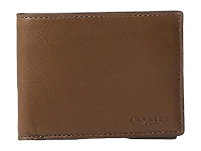 COACH Sport Calf Slim Billfold ID Wallet (Dark Saddle) Wallet Handbags
