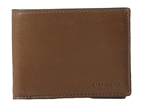 COACH Sport Calf Slim Billfold ID Wallet Dark Saddle Collections Cheap Online Big Discount Sale Online QsADOi