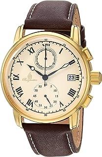 Burgmeister Men's Quartz Watch with Leather Calfskin Strap, Purple, 22 (Model: BM334-295