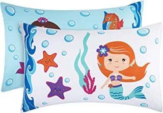 EVERYDAY KIDS Mermaid 2 Pack Pillowcase Set - Soft Breathable Microfiber Pillowcase Set