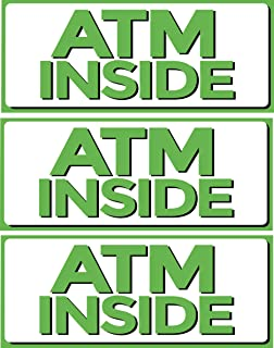 """ATM Inside Vinyl Sign, 5"""" x 12"""" Sticker Decal, 3 Pack, Retail Store Sign"""