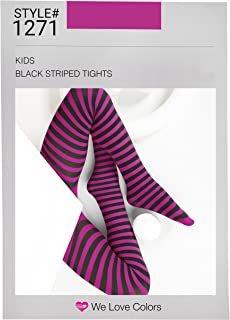 Kid's Black Striped Tights in 20 Color Combos and 4 sizes!