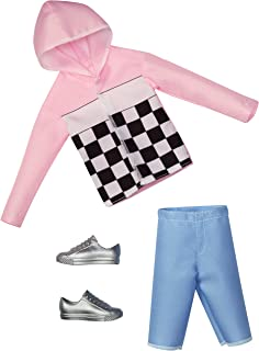Barbie Clothes: 1 Outfit for Ken Doll Includes Pink Check Hoodie, Shorts and Silvery Shoes, Gift for 3 to 8 Year Olds