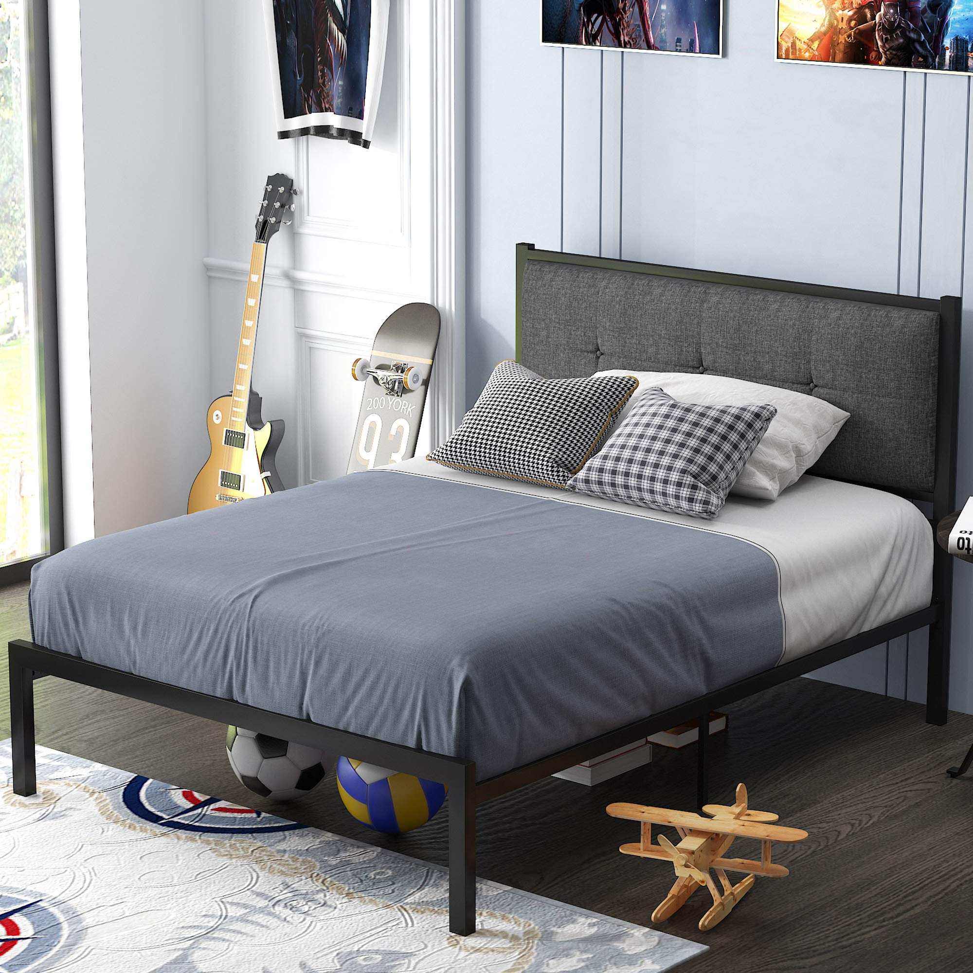 Sponsored Ad - SHA CERLIN Twin Bed Frame, Metal Platform Bed with Upholstered Button Tufted Headboard and 16 Strong Steel ...