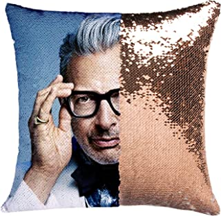 K T One Jurassic Park Jeff Goldblum Mermaid Sequins Pillow Cover, Magic Reversible Throw Pillow Case Without Insert Decor Change Color Pillowcase 16x16 Inches