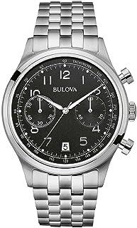 Bulova - Classic Vintage - Reloj de Pulsera de Diseño Para Hombre, Función de Cronógrafo, Correa de cuero , Acero inoxidable