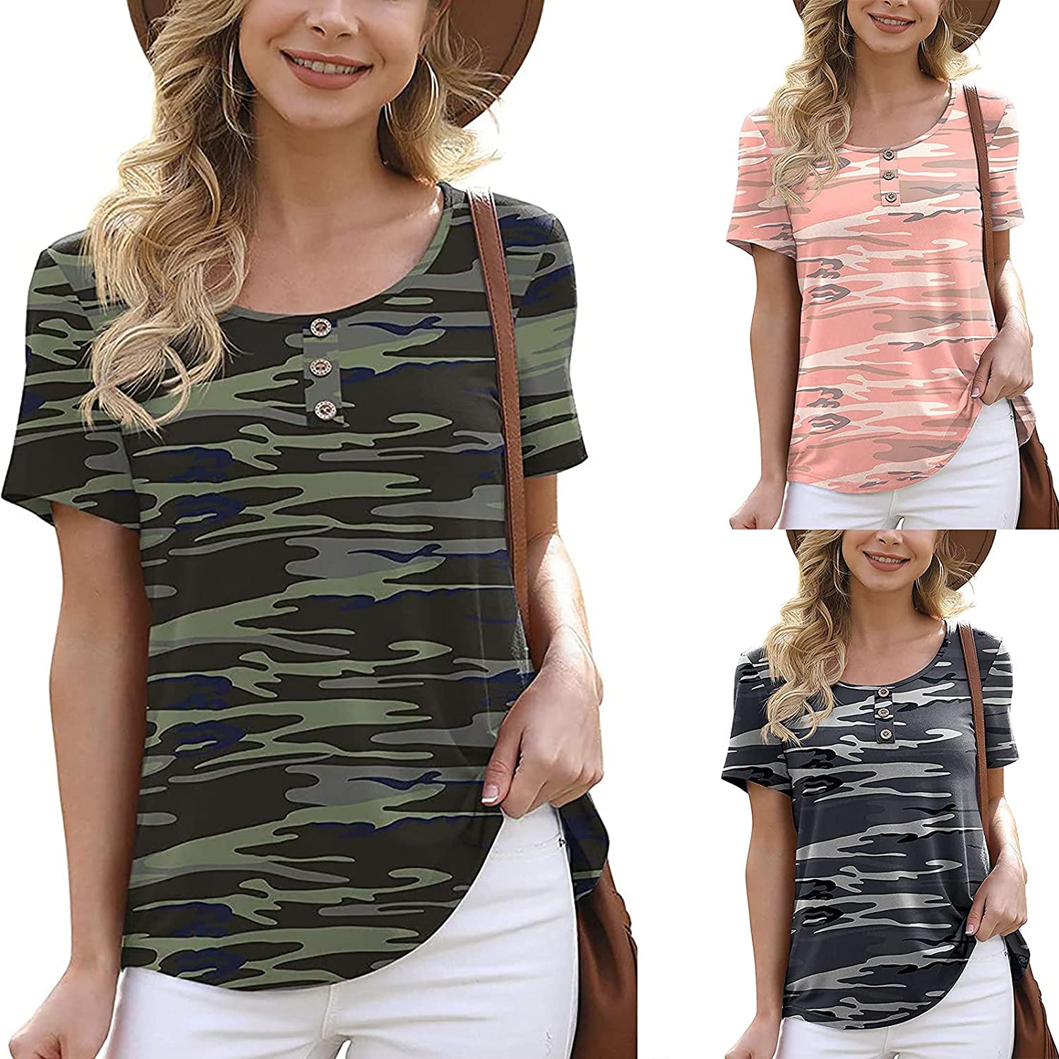 Women Summer Tops Camouflage Graphic Print Blouse O Neck Tunic Short Sleeve Pullover Tees Casual Button T Shirt