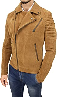Mat Sartoriale Giacca Cappotto Uomo Beige Cammello Casual camoscio Invernale Giubbotto Moto Jacket