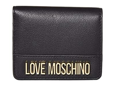 LOVE Moschino Love Logo Bifold Wallet (Black Natural Grain Calf) Handbags