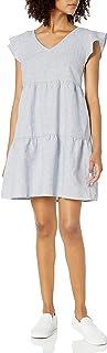 Goodthreads Vestido Estilo Campesino con Mangas de Mezcla de Lino Lavado Vestido para Mujer