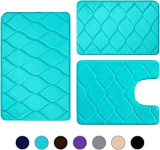 Colorxy Memory Foam Bathroom Rugs - Water Absorbent, Super Soft Non-Slip Bath Mat, Washable Ogee Design Bathroom Mat Set of 3, Small/Large/Contour, Teal