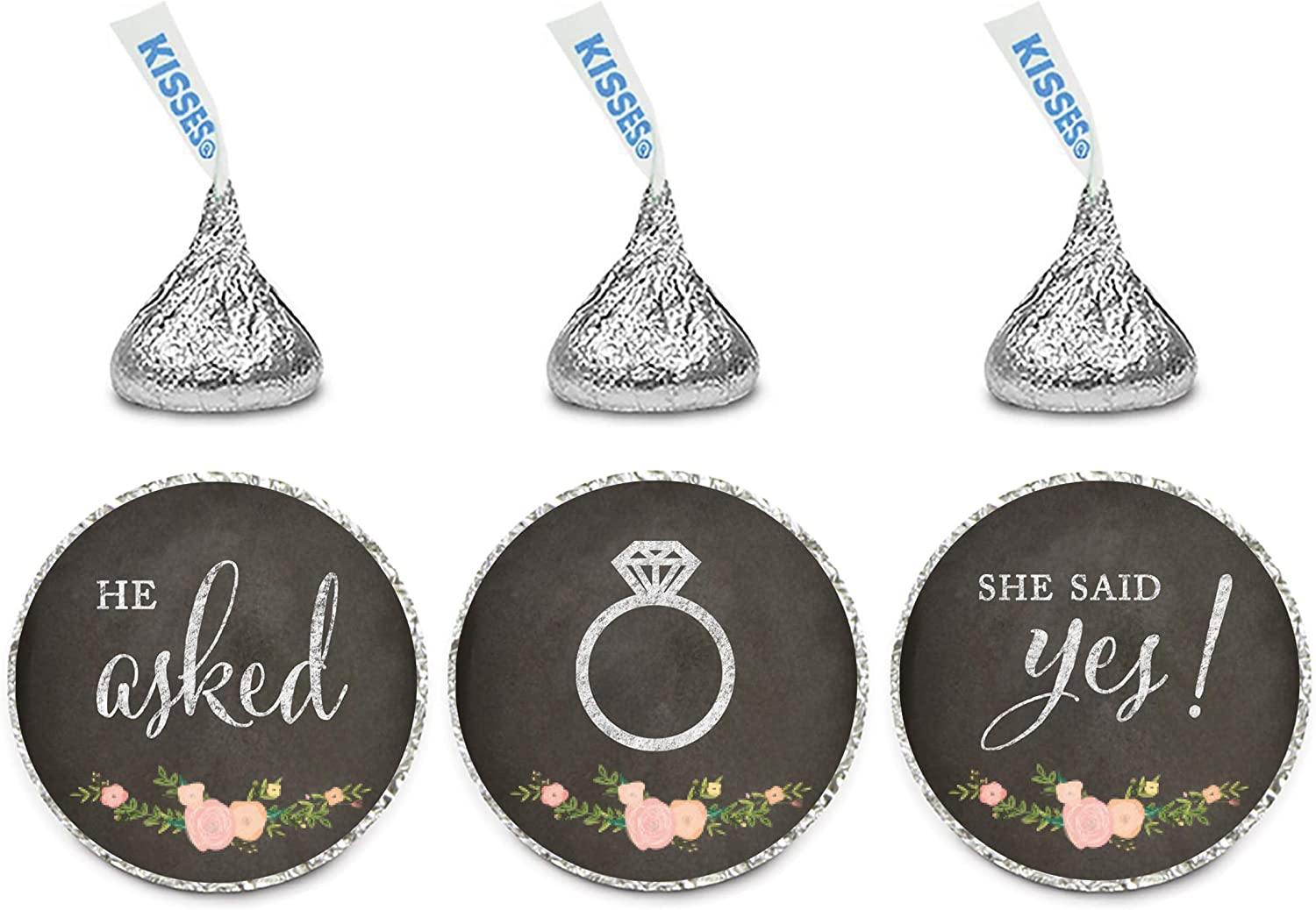 Andaz Press Chocolate Drop Labels Stickers, Wedding He Asked She Said Yes!, Chalkboard Floral Roses, 216-Pack, for Bridal Shower Engagement Kisses Party Favors Decor