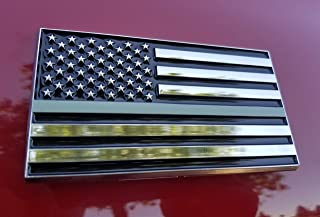American Flag Sticker | American Flag Decal | American Flag 3x5 Car Emblem Correctional Officer | Prison Guards USA Flag Car Decals For Women | US Flag Car Decals For Men | Black American Flag Decal
