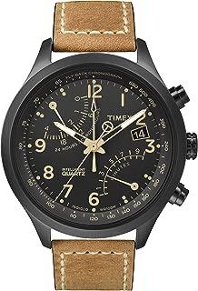 Men's Intelligent Quartz Fly-Back Chronograph Tan Strap Black Case T2N700