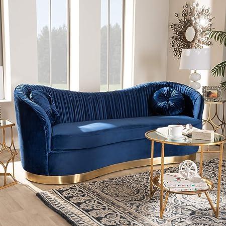 Baxton Studio Nevena Glam Royal Blue Velvet Fabric Upholstered Gold Finished Sofa Furniture Decor