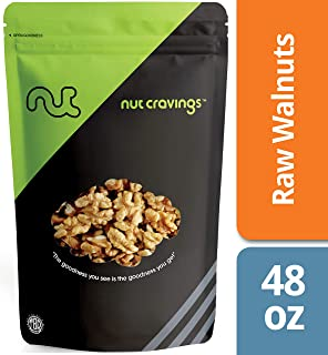 Nut Cravings California Raw Walnuts (3 Pounds) - 100% All Natural Shelled Halves and Pieces – 48 Ounce