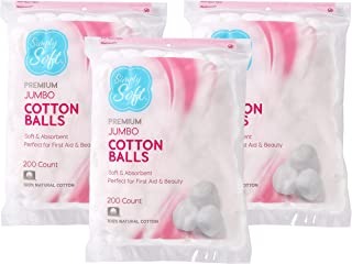 Simply Soft Premium Cotton Balls, 100% Pure Cotton, Absorbent, 600 Count (3 - 200 Count Bags)
