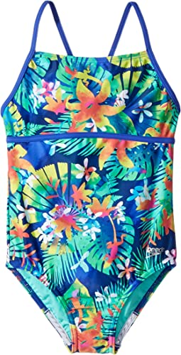 Hidden Tropical Strappy One-Piece (Big Kids)